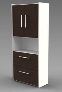Büroschrank mit Türen und Schubladen in Wenge-Holzdekor