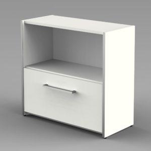 weißer Büro-Aktenschrank 1 Schublade und 1 offenes Schrankfach