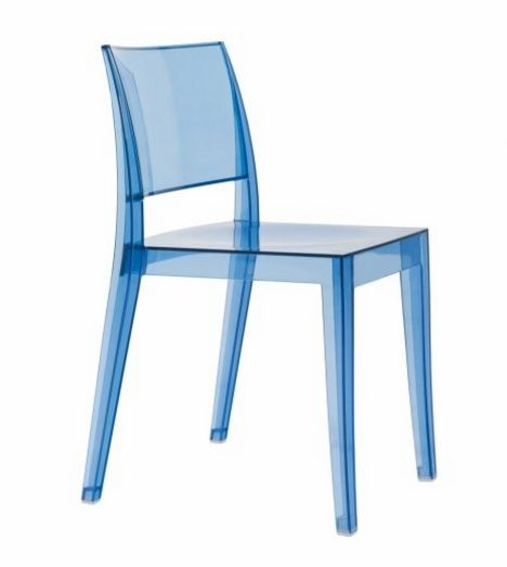 sstapelbarer Stuhl aus witterungsbeständigem Polycarbonat transparent grau