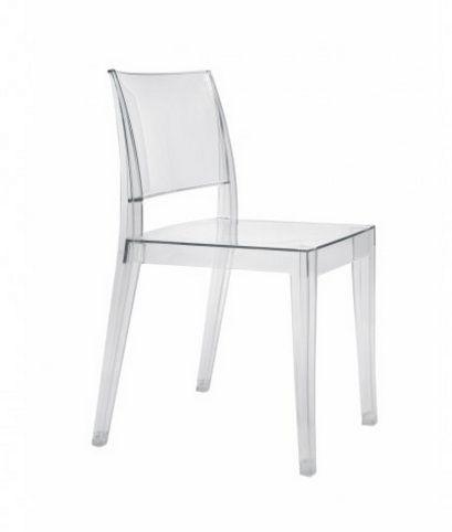 stapelbarer Stuhl aus witterungsbeständigem Polycarbonat transparent klar