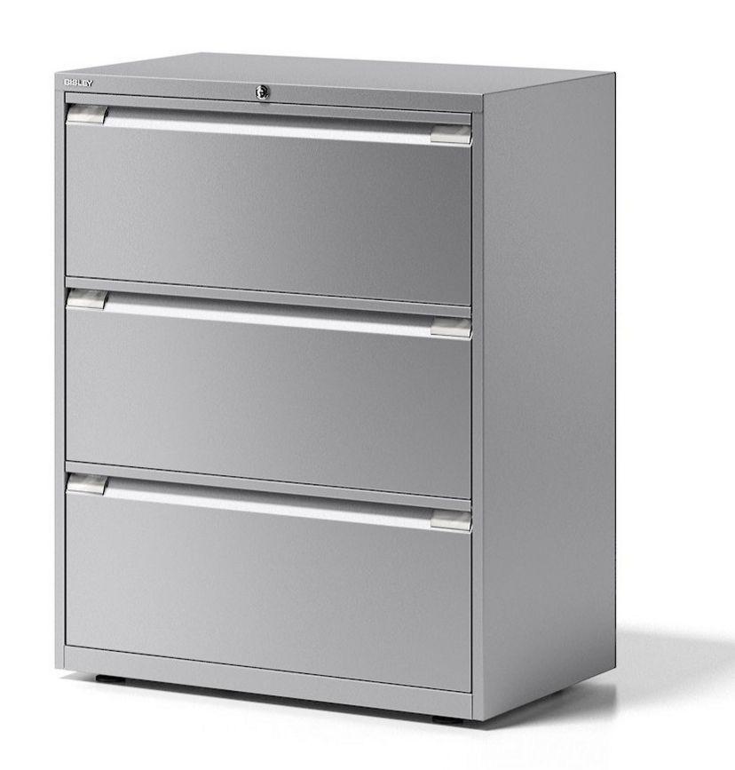 doppelbahniger Hängeregister-Stahlschrank drei sicher abschließbaren Hängemappen-Schubladen