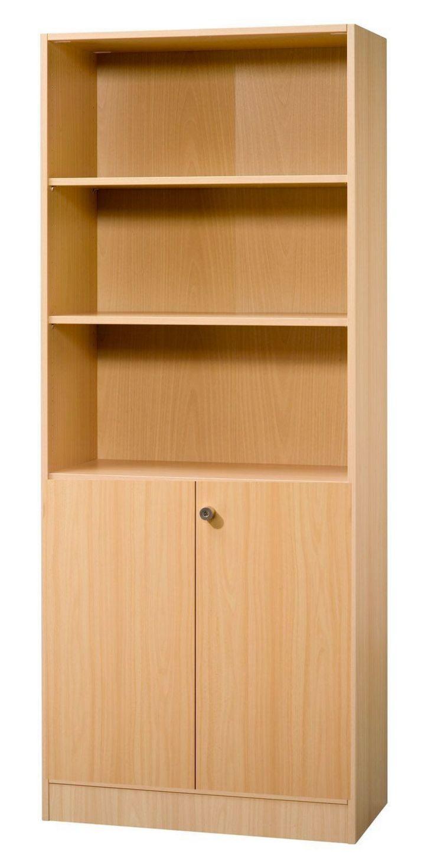 Büro-Holzschrank mit abschließbaren Schrankfach und 3 offene Regalfächer