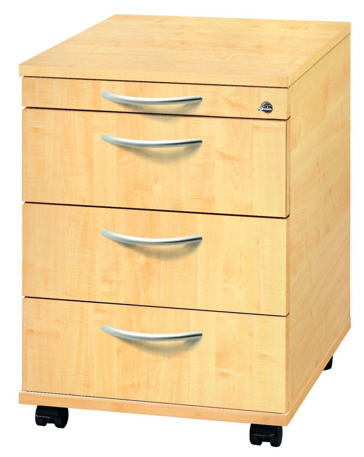 abschließbarer Schreibtisch-Rollcontainer Ahorn
