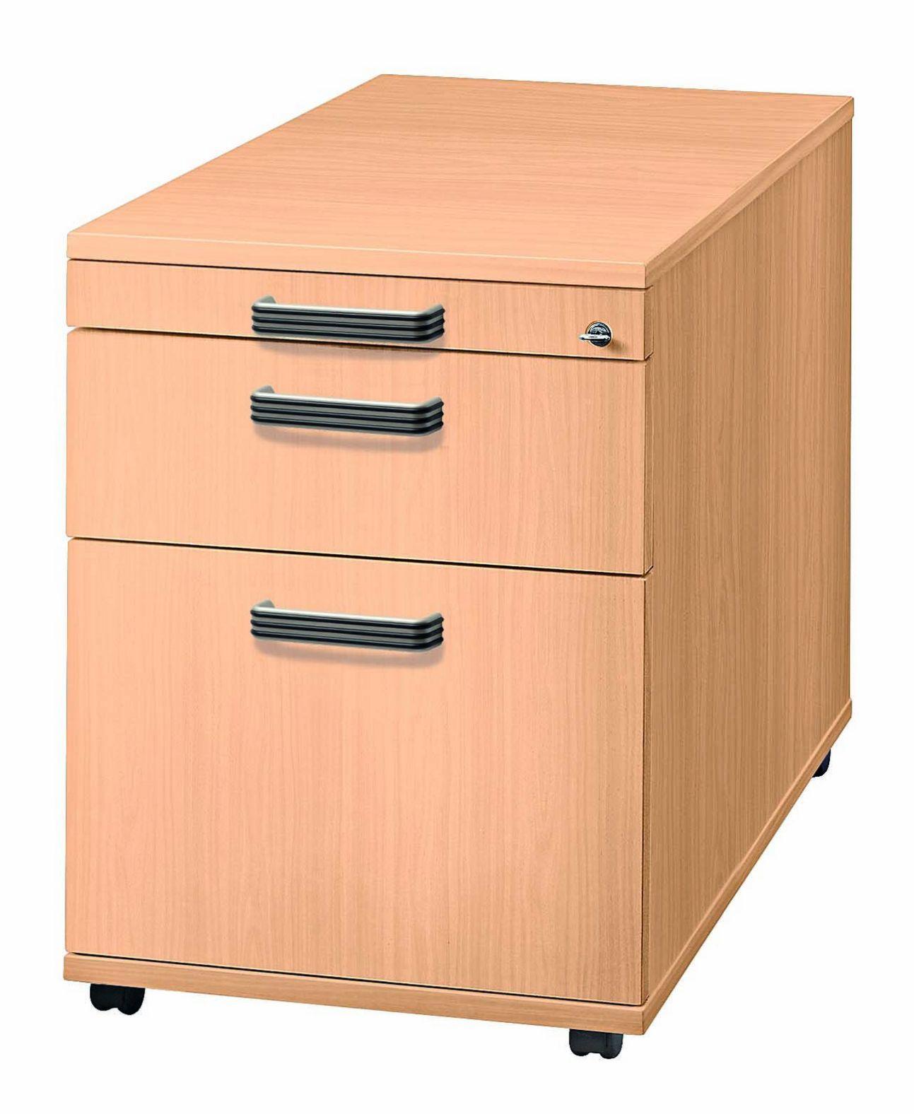 Buche-Schreibtischrollcontainer abschließbar
