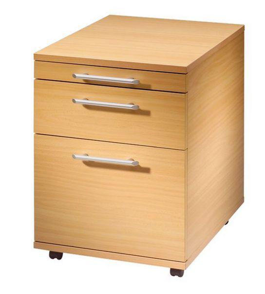 Hängeregister-Schreibtisch-Rollcontainer Buche