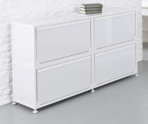 weißer Klapptüren-Büroschrank aus Aluminium
