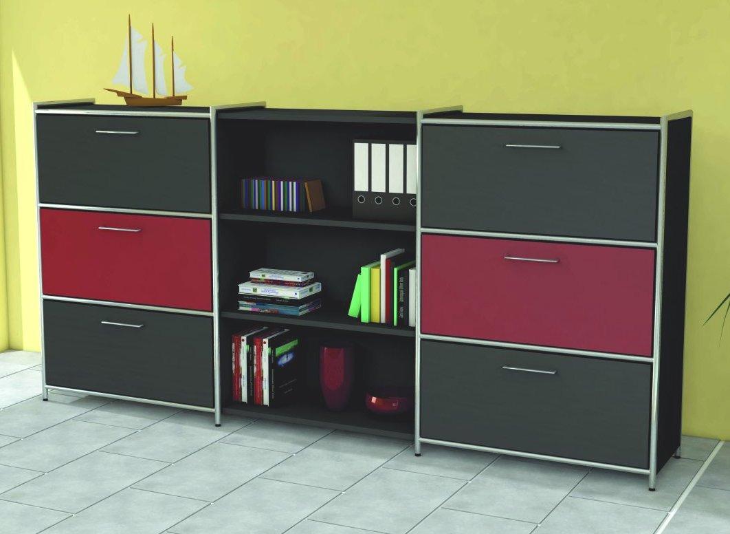 Büroschrank mit Schubladen und offene Schrankfäche