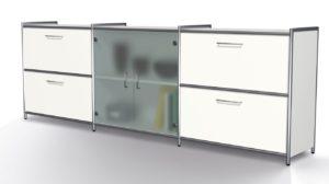 weißes Bürosideboard mit 4 Schubladen Glastüren