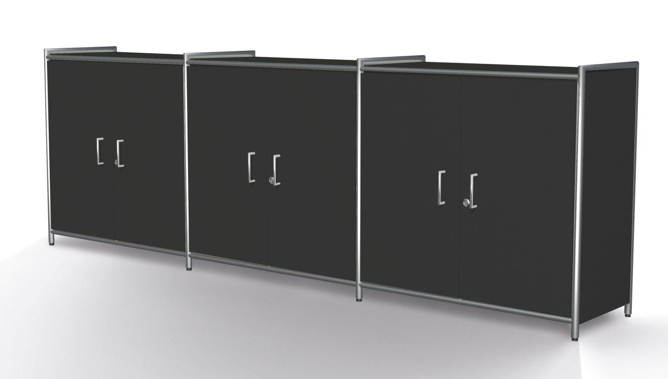 Bürosideboard mit abschließbaren Drehtüren