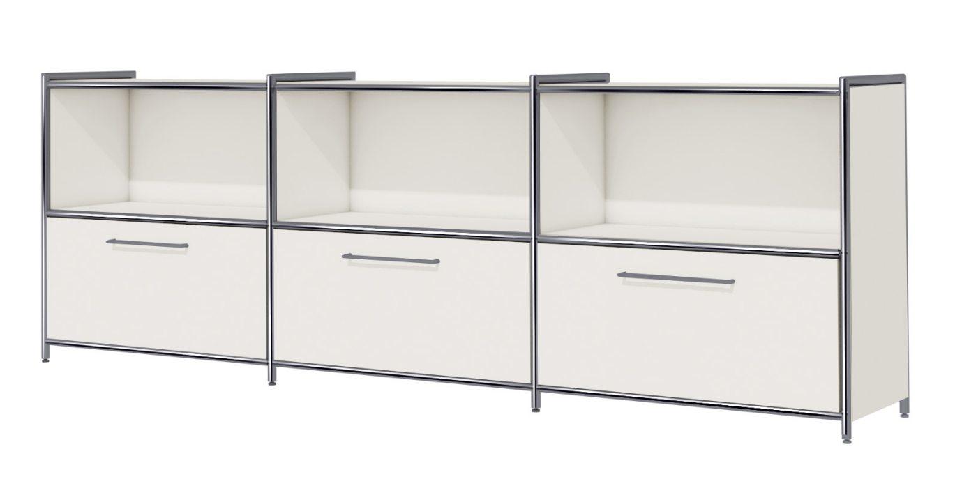 weißer Büroschrank im stabilem Stahlrohrrahmen mit 3 Schubladenfächer und 3 offene Schrankfächern