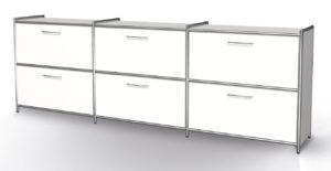 weißes Bürosideboard im stabilem Stahlrohrahmen mit nicht abschließbaren Schubladen