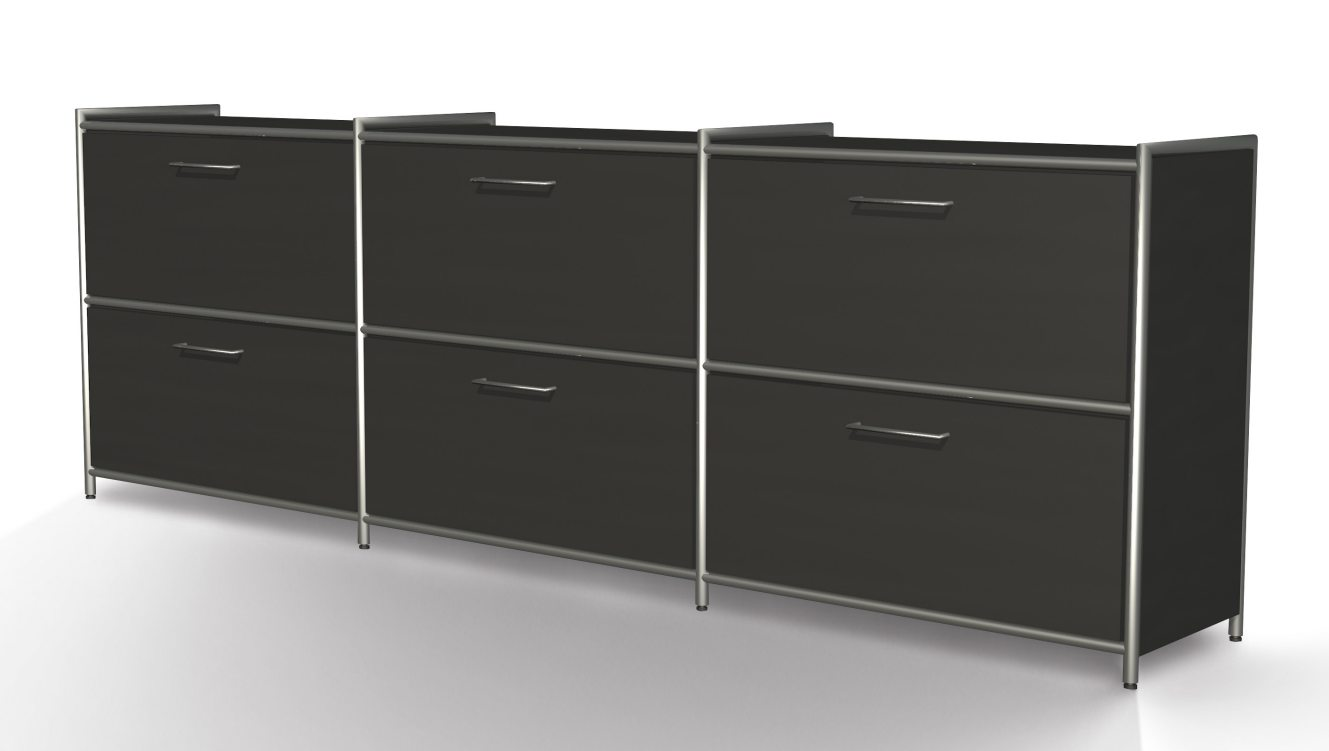 anthrazitfarbenes Bürosideboard mit 6 Schubladen in Ordnerhöhe