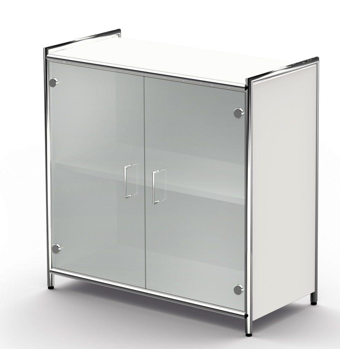 Büroschrank mit satinierten Glastüren