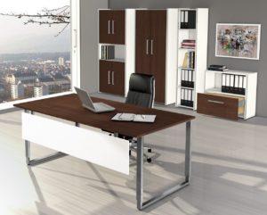 Bügelgestell-Schreibtisch mit Tischplatte in Wenge-Holzdekor