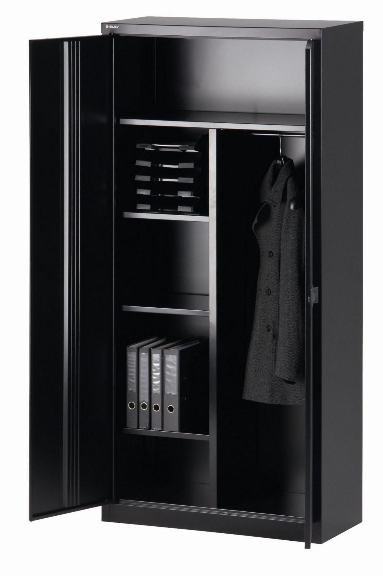 abschließbarer Bürostahlschrank Garderobenstange mit Hutablage
