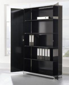 repräsentativer Chefzimmer-Büroschrank aus schwarzem Sicherheitsglas