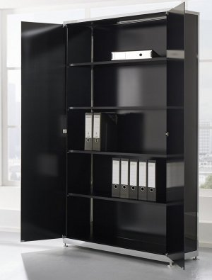 Chefzimmer-Büroschrank aus Schwarzglas