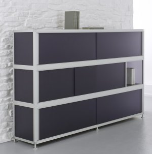 Büro-Highboard Acrylglas schwarz