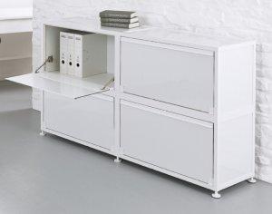 weißer Klapptüren-Büroschrank