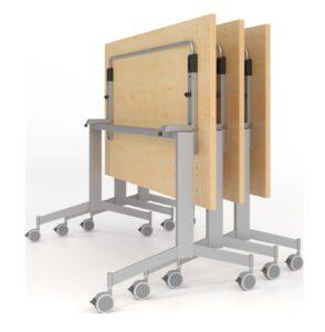 Seminartisch mit Laufrollen und einklappbarer Tischplatte