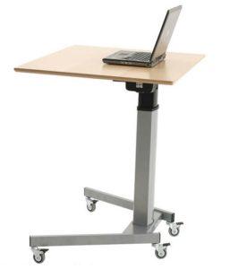 Sitz- u. Stehschreibtisch mit Laufrollen und Akku-Set zur elektrischen Tischhöheneinstellung ohne Stromanschluß