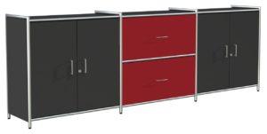 anthrazitfarbenes Bürosideboard im eleganten Stahlrohrrahmen