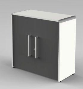 eleganter Büroschrank mit anthrazitfarbene Schranktüren