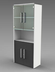 Büroschrank mit Glastüren, Holztüren und offenes Schrankfach