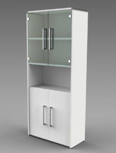 Büroschrank Höhe = 185 cm mit satinierten Glastüren