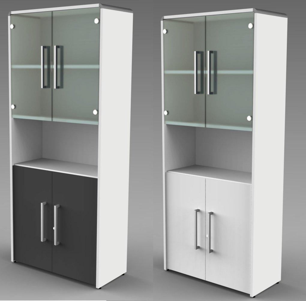 Büroschrank mit Glastüren und Holztüren