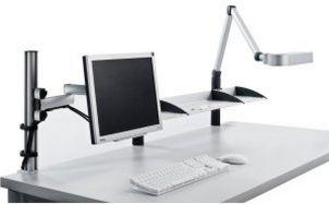 Monitor-Faltarm- schwenkbare Leuchte Ablagefächer stabile Tischmontage