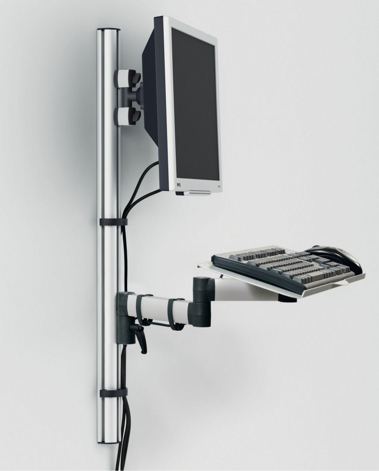 höhenverstellbare Monitor-Wandhalterung mit Tastaturablage