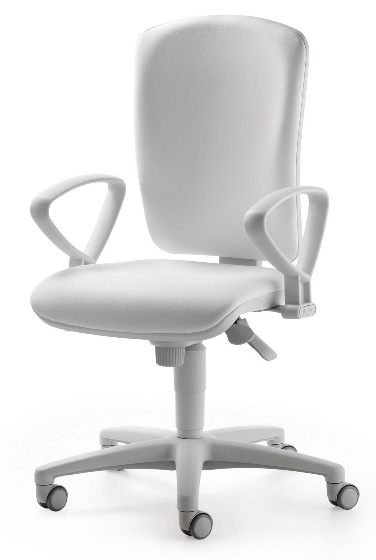 weißer Arzt-Schreibtischstuhl leicht desinfizierbarer Sitzbezug