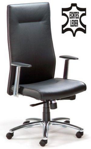 eleganter Chefsessel Echt-Leder schwarz
