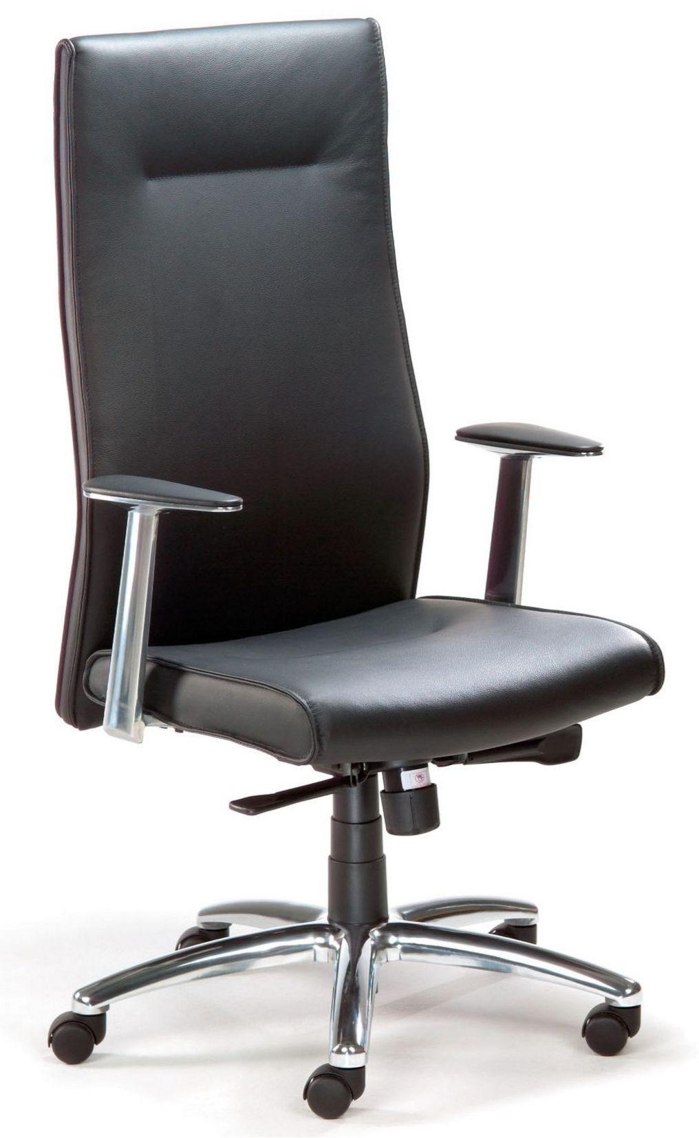 günstiger Chefsessel Sitzbezug Echt-Leder schwarz