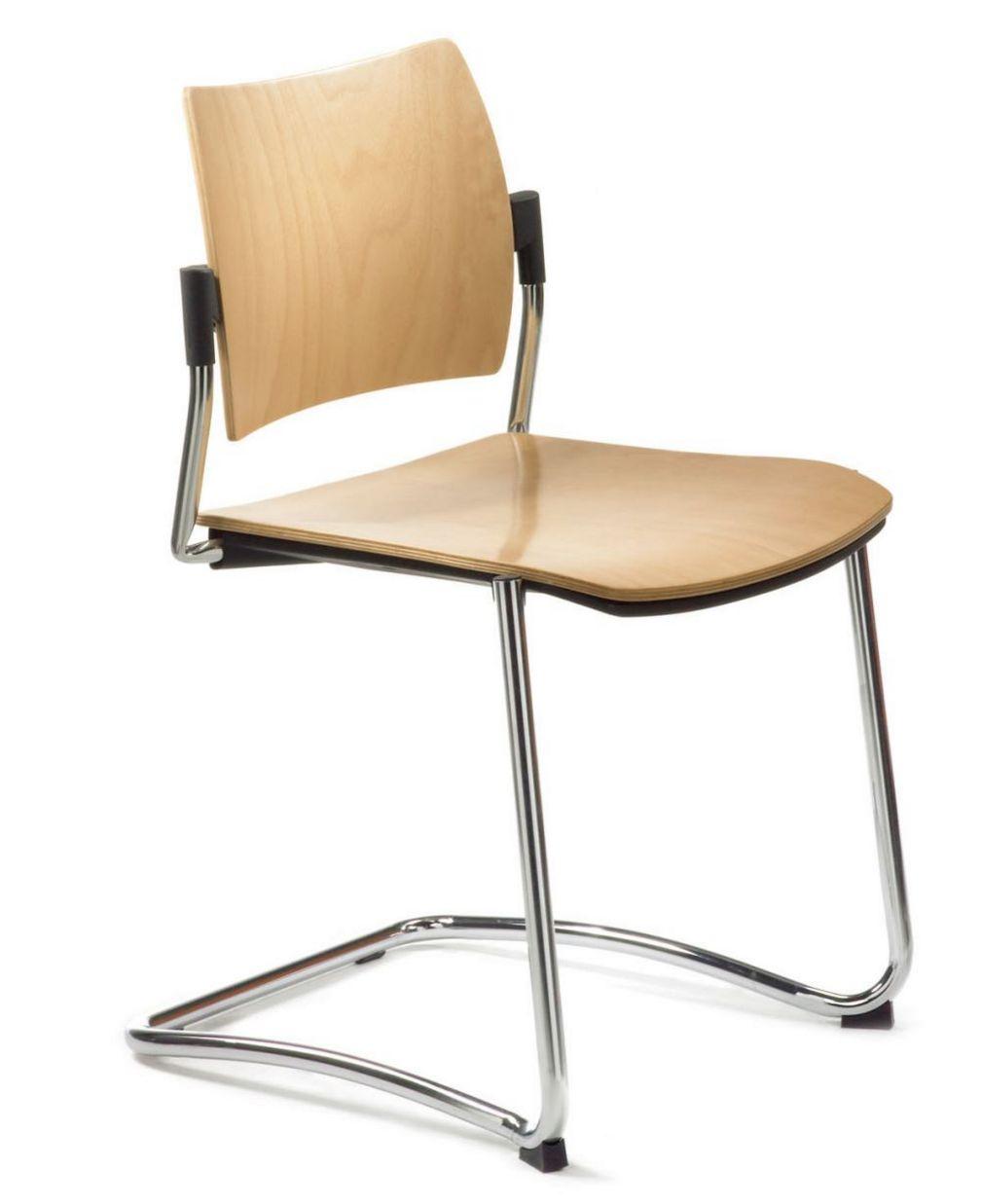 stapelbarer Konferenzraum-Freischwinger Holzsitz Buche