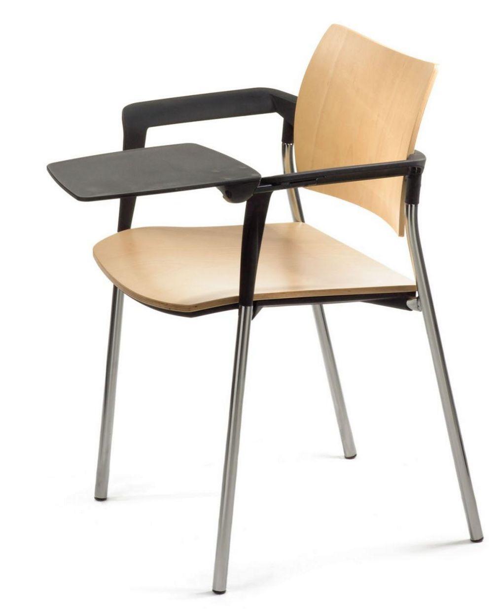 stapelbarer Veranstaltungsstuhl Holz-Sitz mit Schreibtableau