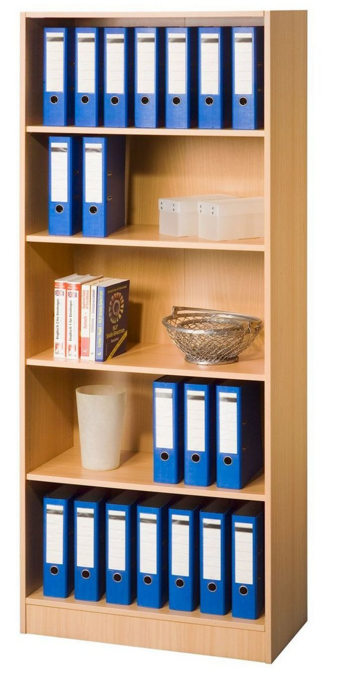 offener Büro-Regalschrank Buche-Holzdekor