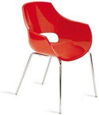 stapelbarer Stuhl mit roter Armlehnen-Sitschale