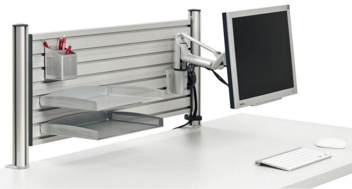 Monitor-Schwenkarm-Ablagefach-Stiftköcher-Tischmontage