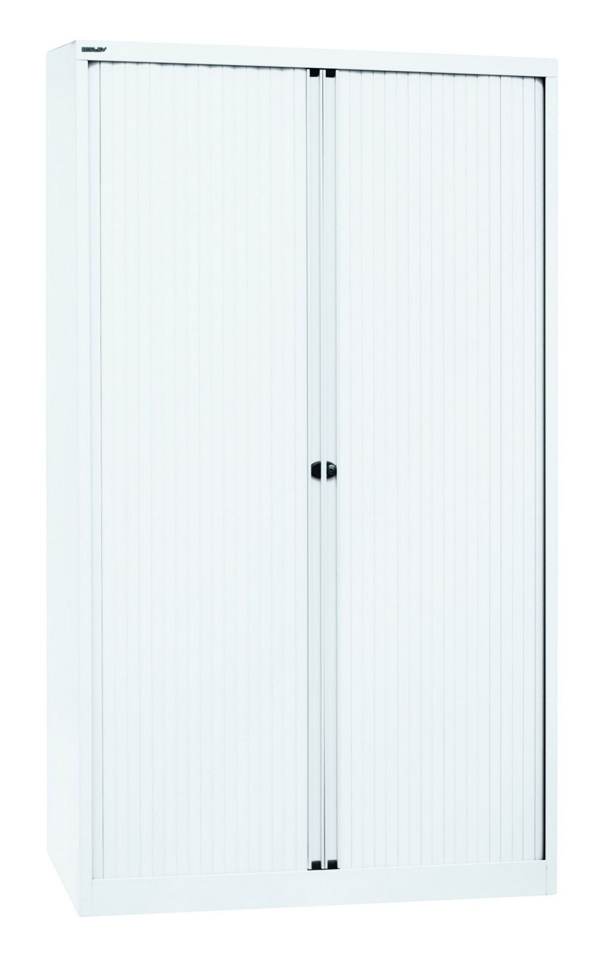 abschließbarer Rollladen-Büroschrank aus Stahl weiß
