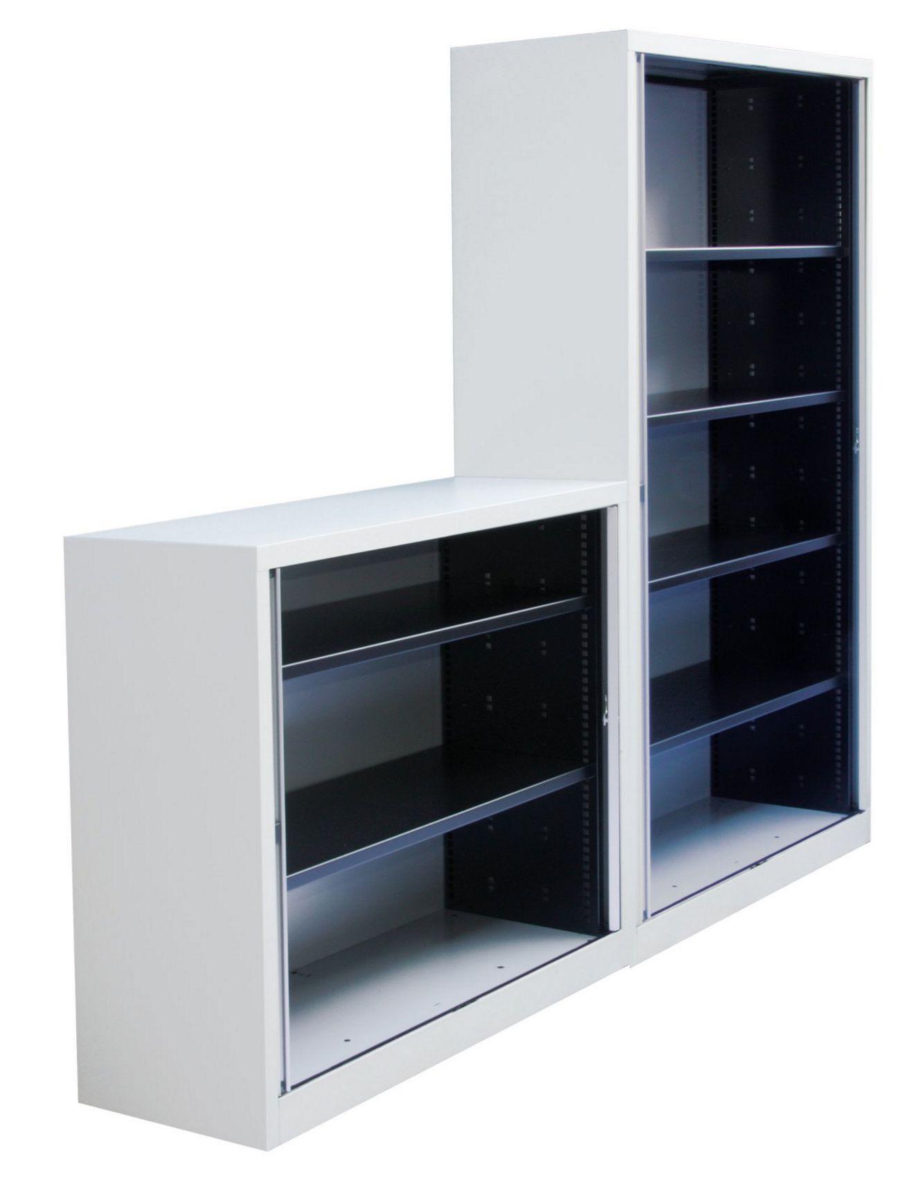 Bürostahlschrank mit komplett einziehbaren und abschließbaren Rollläden