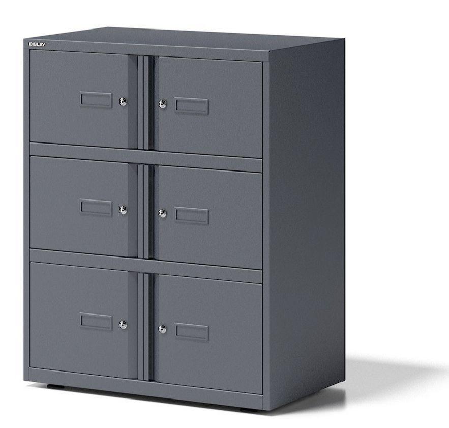 Büro-Schließfachschrank kratzfeste Metalllackierung anthrazit