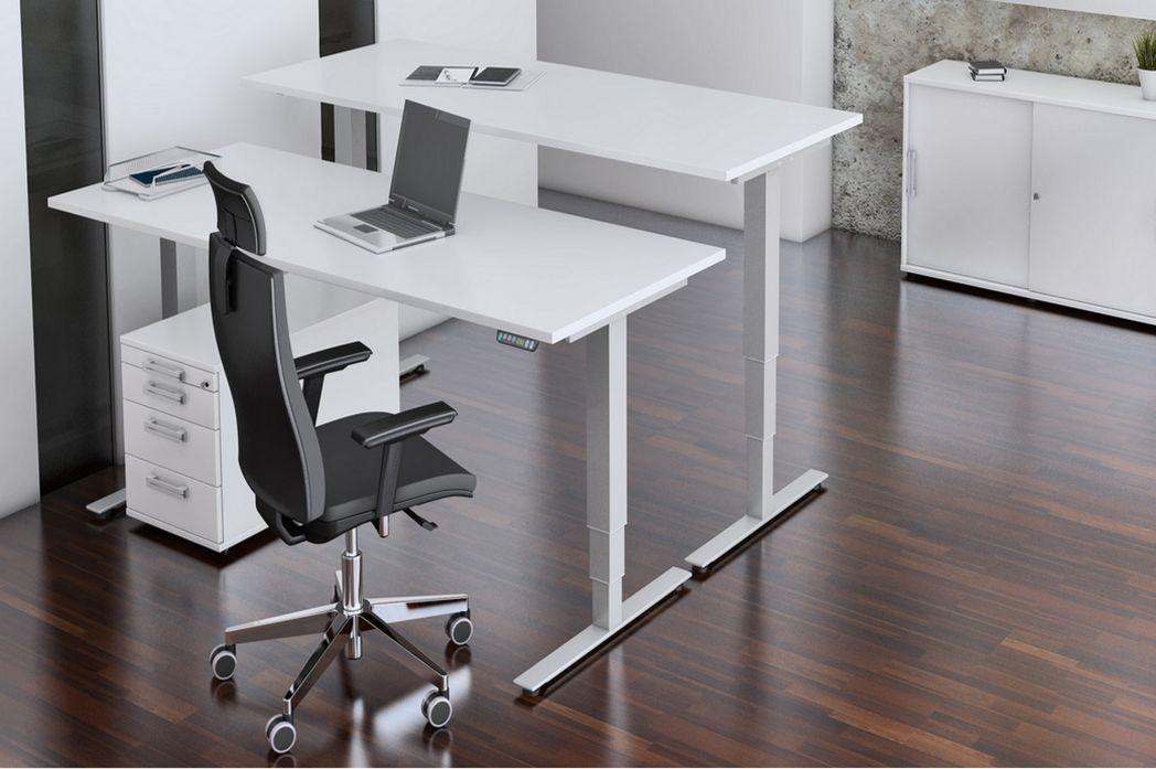 Schreibtisch und Steharbeitstisch elektrisch höhenverstellbar