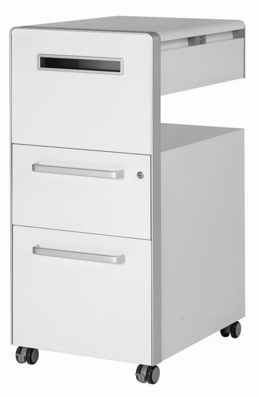 abschließbarer Schreibtisch-Beistellcontainer mit Postfach und Briefschlitz