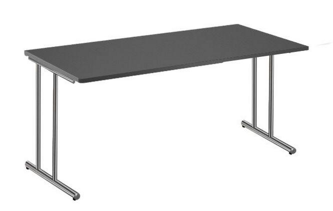 Büroschreibtische Stahlgestell Platte anthrazit