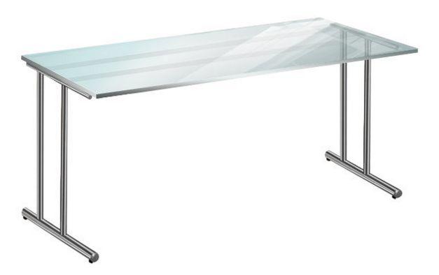 Schreibtisch mit satinierter Glastischplatte