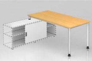 Auflagenschreibtisch mit Rundrohr-Tischbeine und Buche-Dekor-Tischplatte