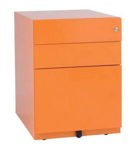 orangefarbener Hängeregister-Schreibtischcontainer abschließbar