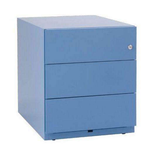 blauer Schreibtisch-Schubladenschrank Stahl abschließbar